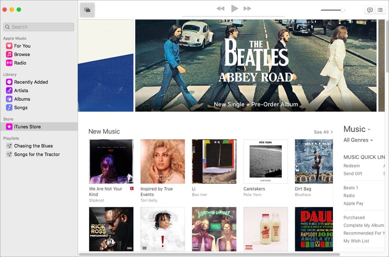 The iTunes store accessed from the Music app.