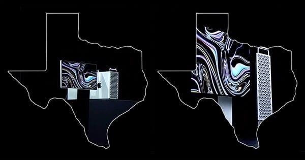 Mac Pro 2019 image inside outline of Texas