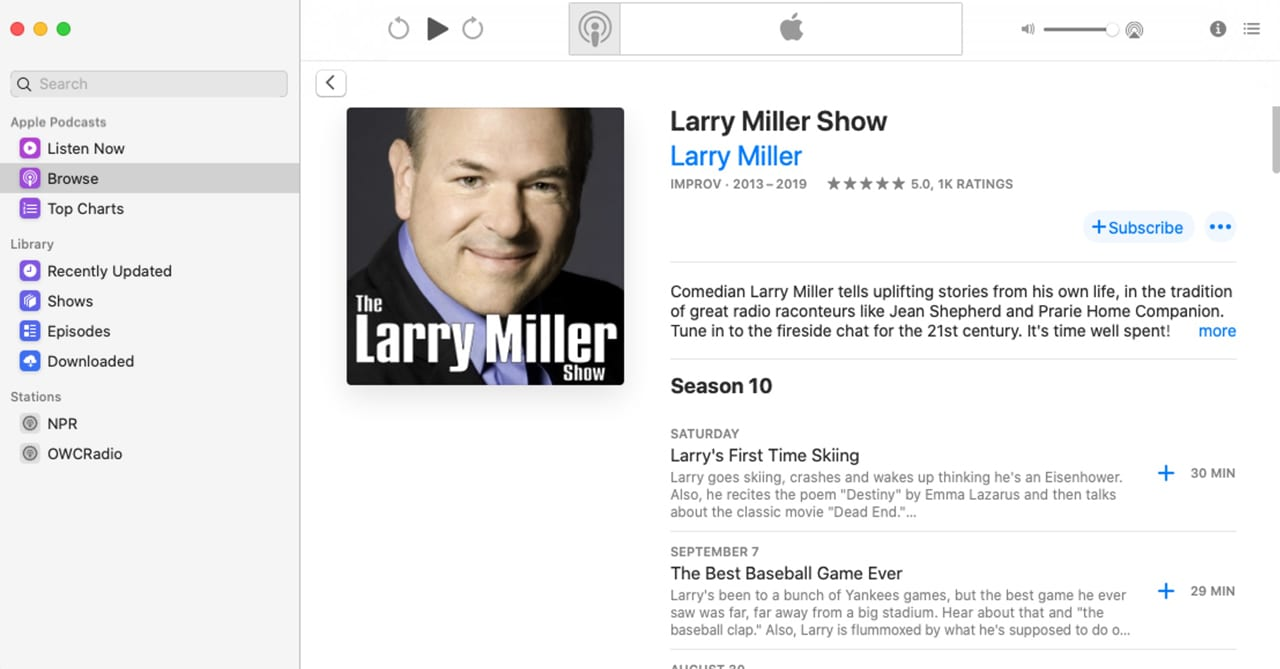 Subscribing to a show can be performed from within the shows description page.