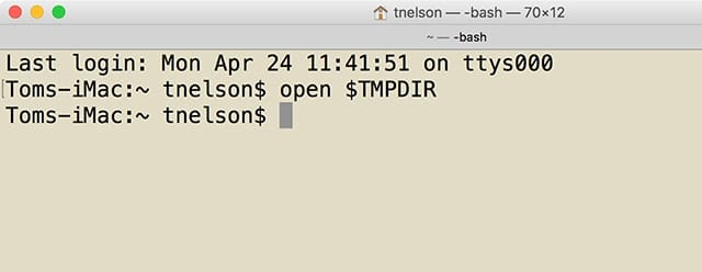 """Terminal's """"open"""" command can be used to view the directories being used by the system for temporary storage."""