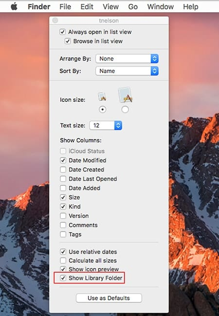 Mac Finder's View options