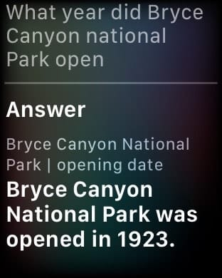 Asking apple watch a question about Bryce Canyon