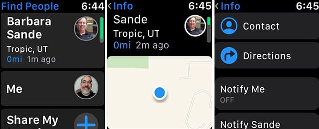 Find, contact, or get directions to your friends from the Watch.
