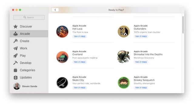 Apple Arcade as it appears in macOS Catalina's App Store