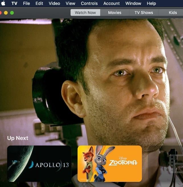 Screenshot of Catalina TV App with image of Tom Hanks