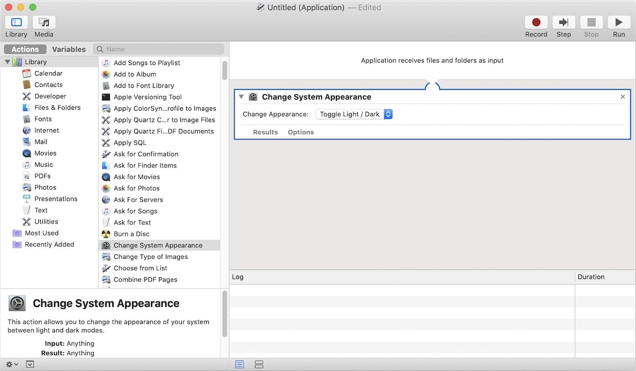 """Drag the """"Change System Appearance"""" action from the list at left to the workflow area at right"""