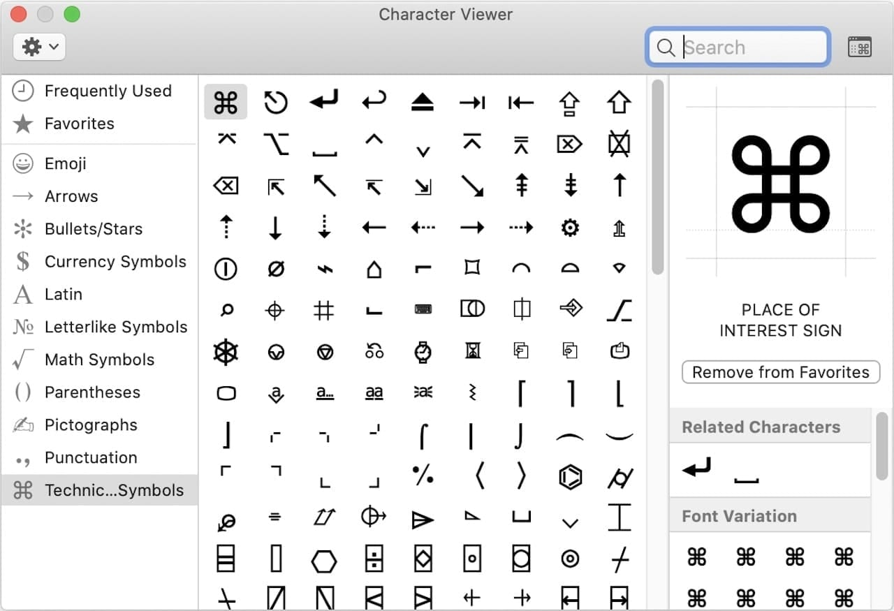 The macOS Character Viewer