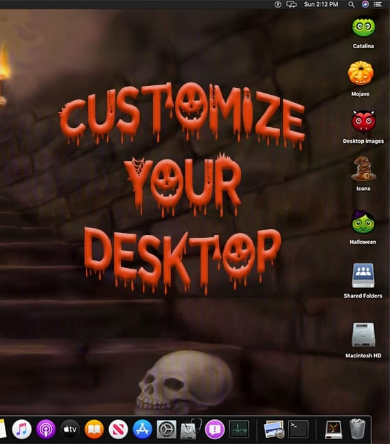 "Screenshot of halloween mac desktop saying ""customize your desktop"""