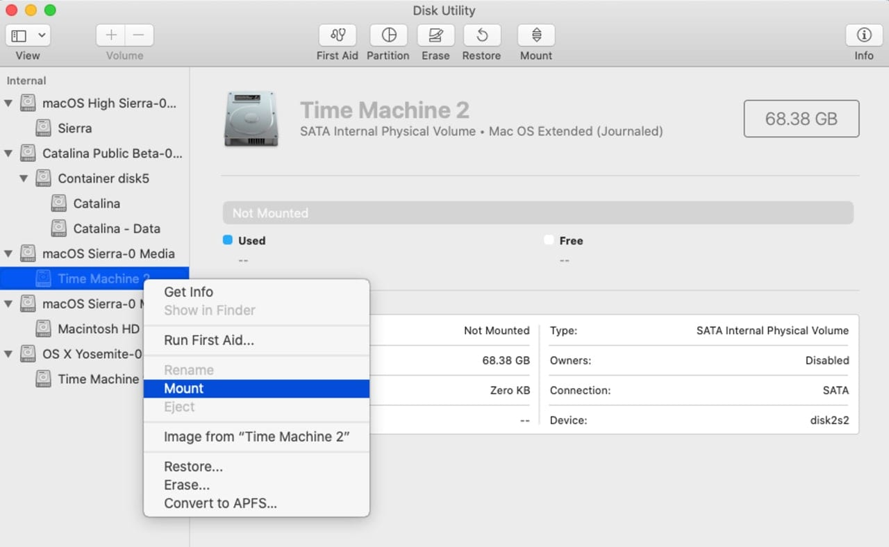 Disk Utilities app can be used to mount volumes on your Mac.