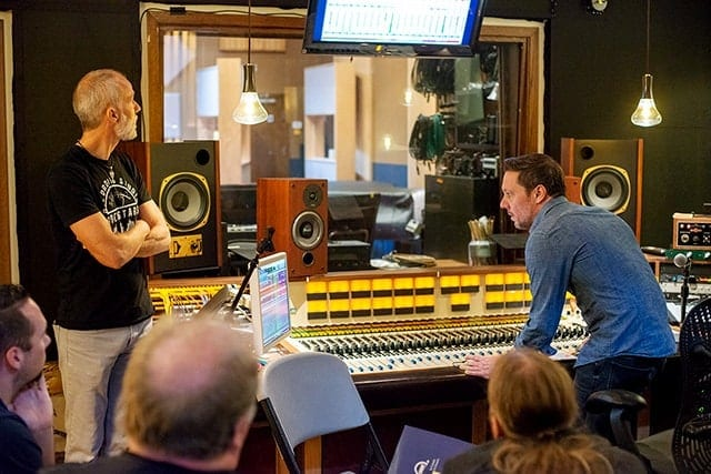 Photo of Lij Shaw and Anthony Gravino at the soundboard in Shirk Studio, Chicago, IL
