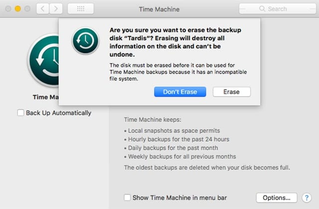 Time Machine in its current incarnation is unable to use an APFS formatted volume for backups