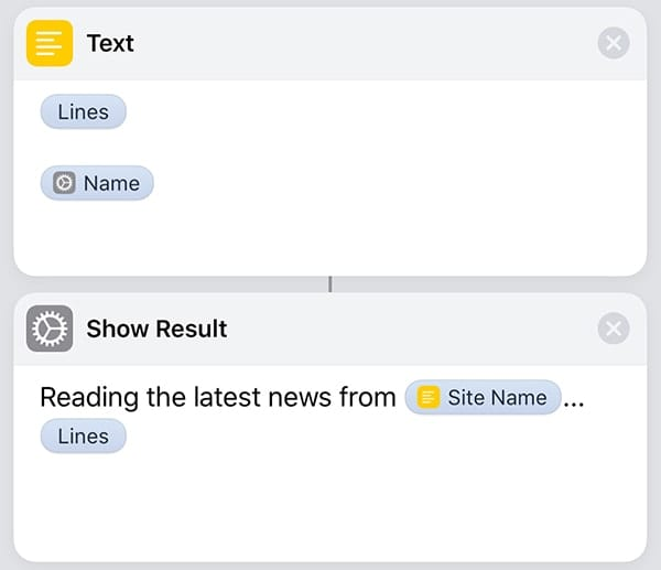 The shortcut actions required to display the headlines on the screen of the iOS device.