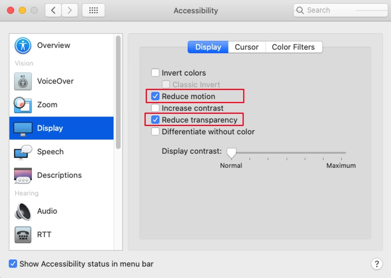 Accessibility preference pane showing the Display options.