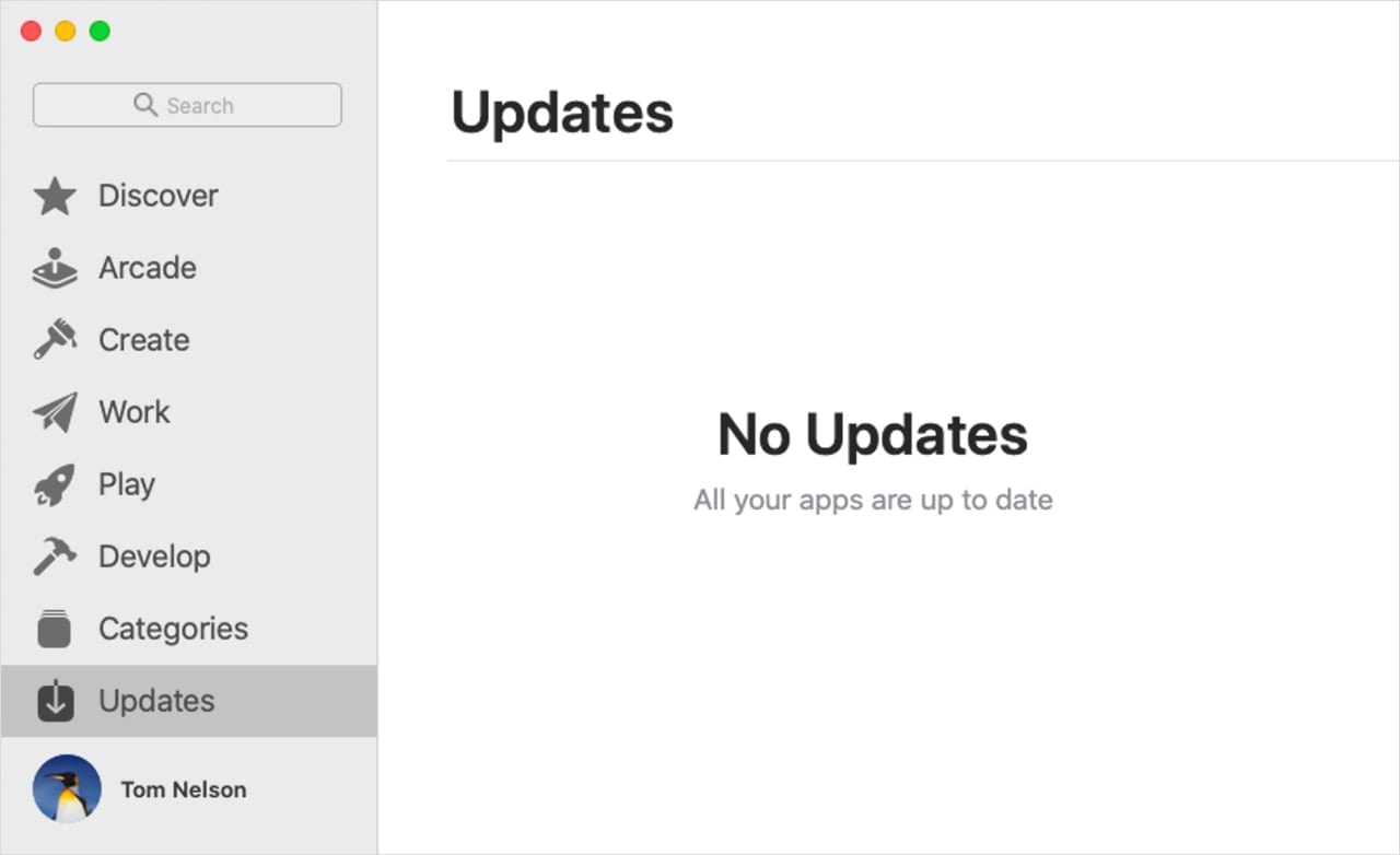 App Store showing the Update category.