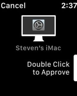 An Apple Watch prompt to approve a Mac action