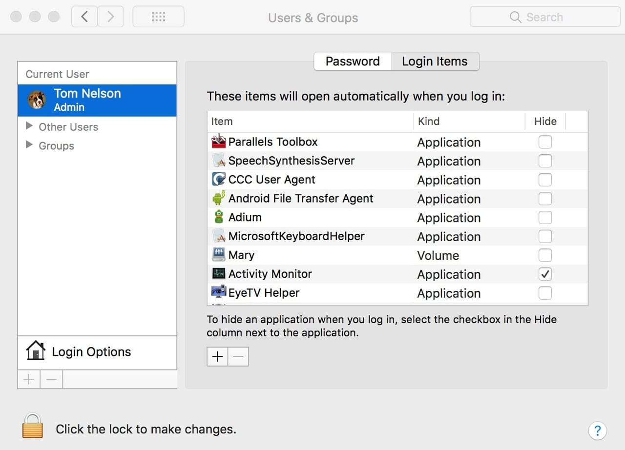 Users & Groups preference pane with Login Items tab selected.