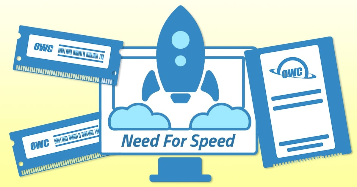 Icon of an iMac, a Rocket, OWC Mermory and OWC SSD on a yellow background