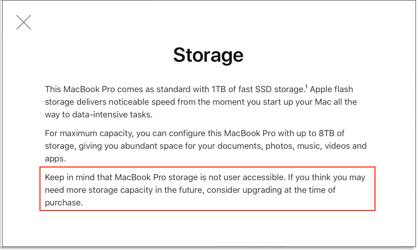 Screenshot of 16-inch MacBook Pro SSD Choice Helper