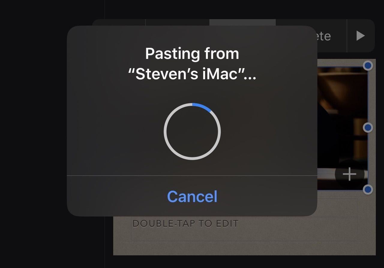 The MP4 file is pasted from the Mac to the iPhone in about two seconds