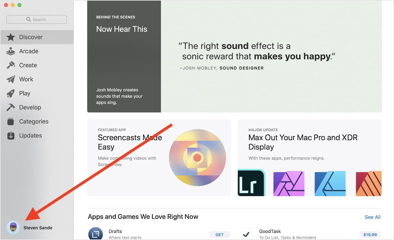 The Mac App Store. Click the button representing yourself (arrow) to see apps and subscriptions that have been purchased.