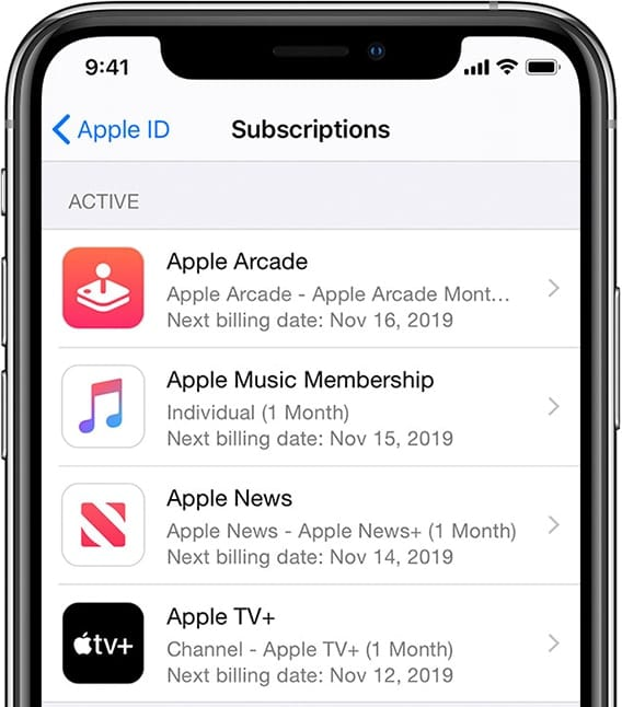 iPhone manage subscriptions screen