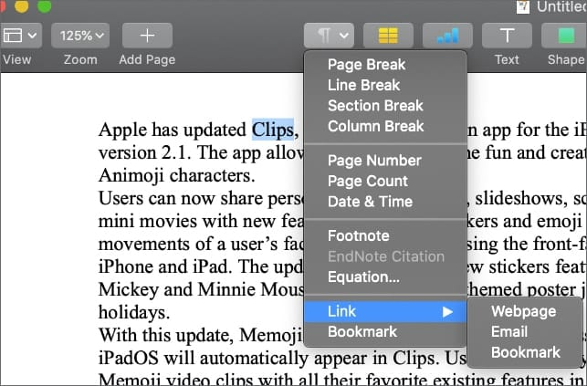 macOS Pages Insert > Link dropdown menu