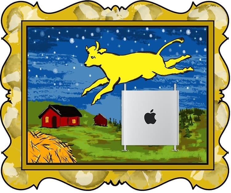 Cow jumping over a 2019 Mac Pro