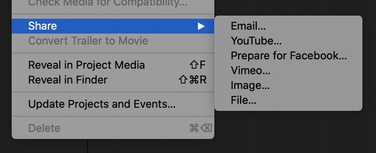 Sharing options in iMovie. Saving as a File, then uploading it to social media is the best way to share it in the best possible resolution.