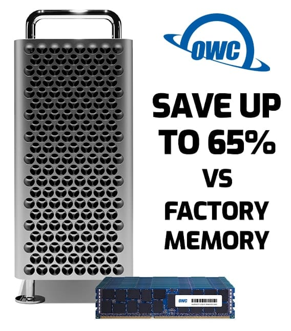 """Picture of a 2019 Mac Pro with OWC memory sayoing """"Save up to 65% vs factory memory"""""""