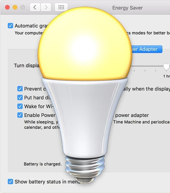 Mac Energy Saver lightbulb icon on top of Energy Saver Preferance Pane