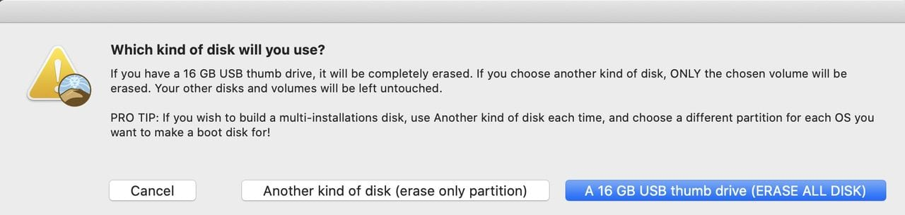 "If you're using a flash drive, click the appropriate button. For a hard disk or SSD, use ""another kind of disk"""