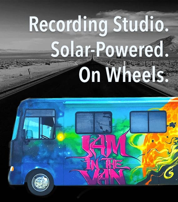 Jam in the Van. Recording Studio. Solar-Powered. On Wheels.