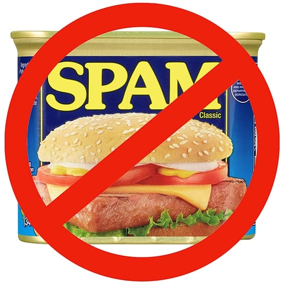 A can of spam with a red X and line through it