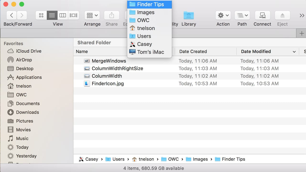 Path options for the Finder window.