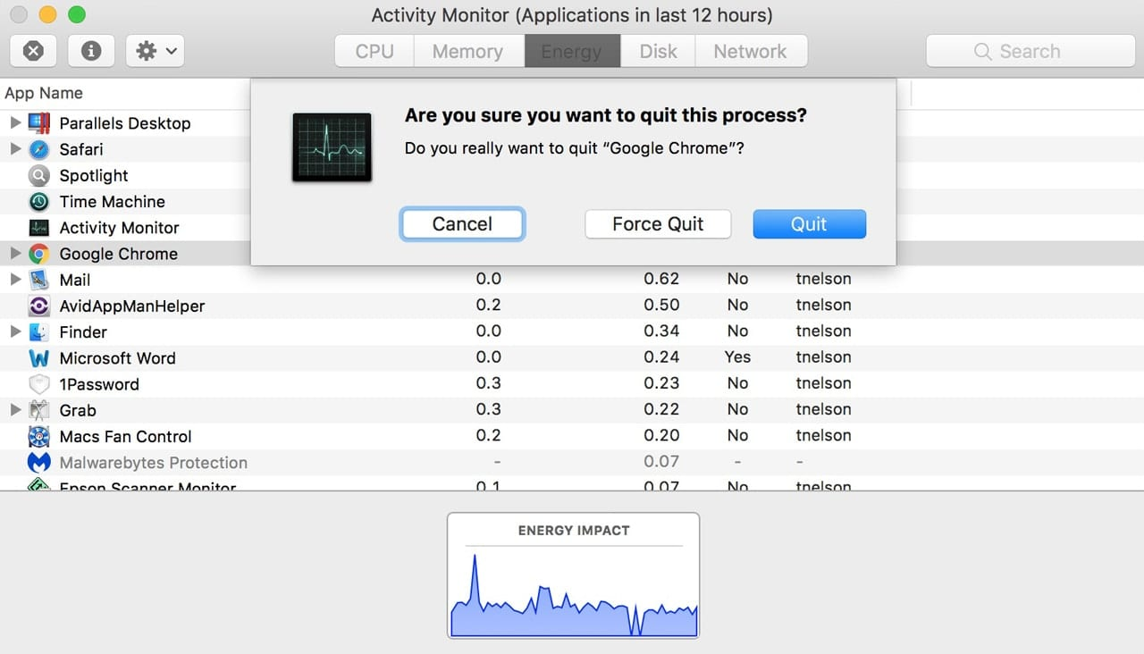 Quitting a selected process in Activity Monitor.
