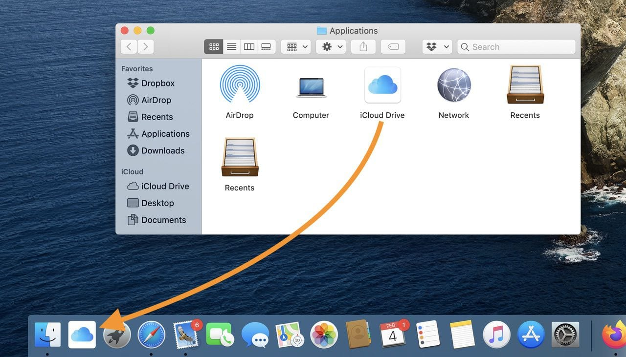 Drag the iCloud Drive application icon to the Dock