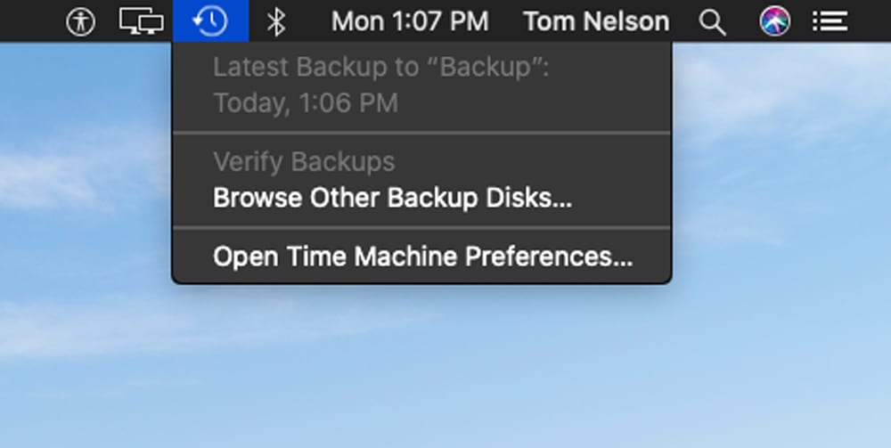 Time Machines menu bar icon.