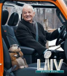 Bill Murray and a Groundhog in Superbowl 54 Jeep commercial