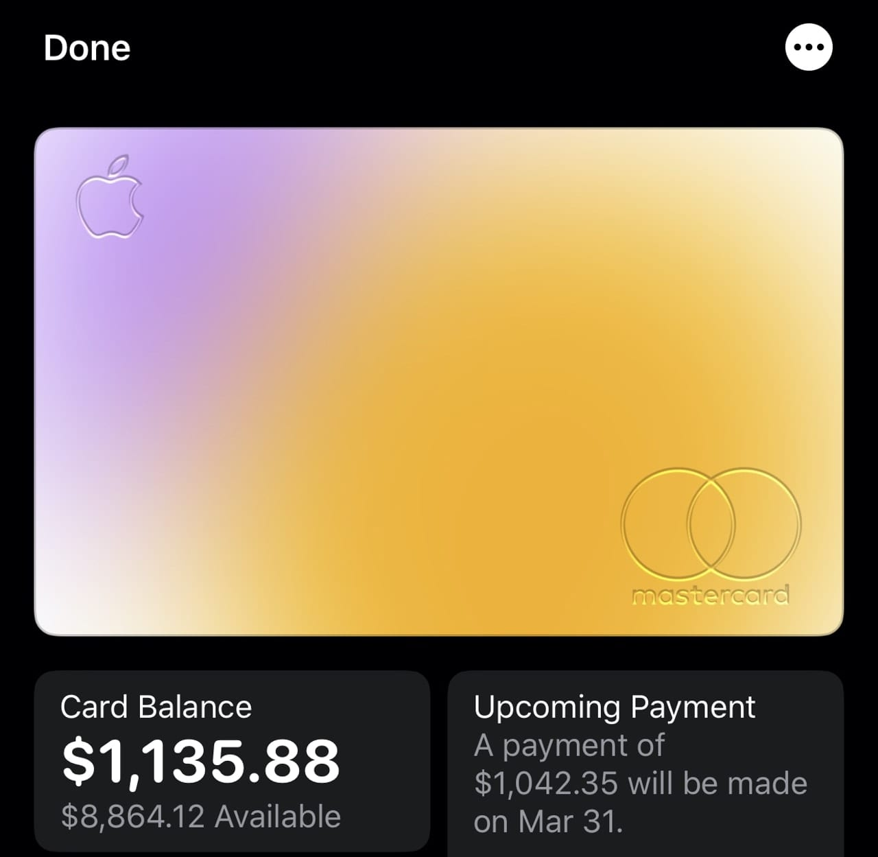 Tap the Apple Card icon in your wallet to see your current balance, recent transactions, and more.