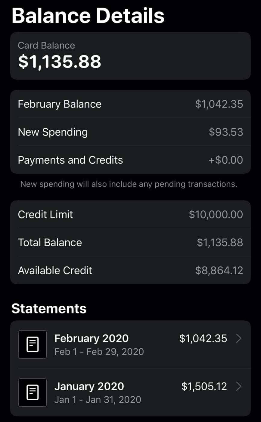 The Balance Details screen displays your current balance, credit limit information, and a list of monthly statements at the bottom.