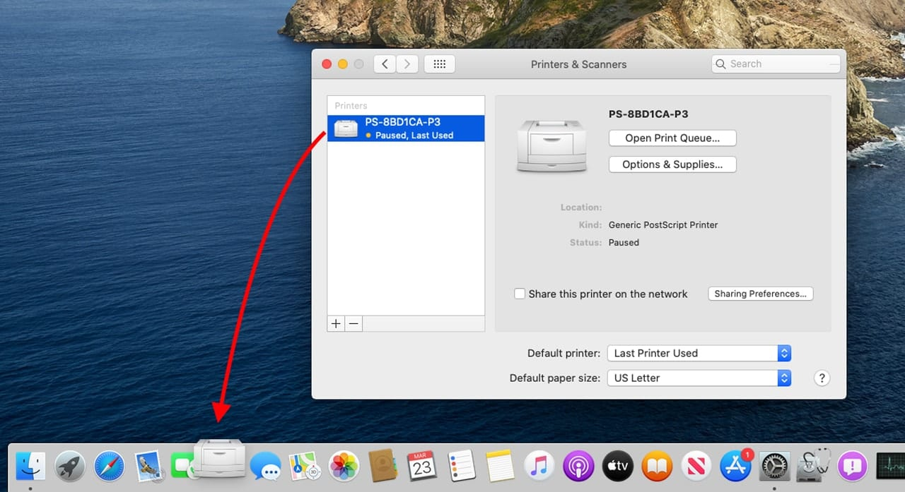 Add a printer to the Dock