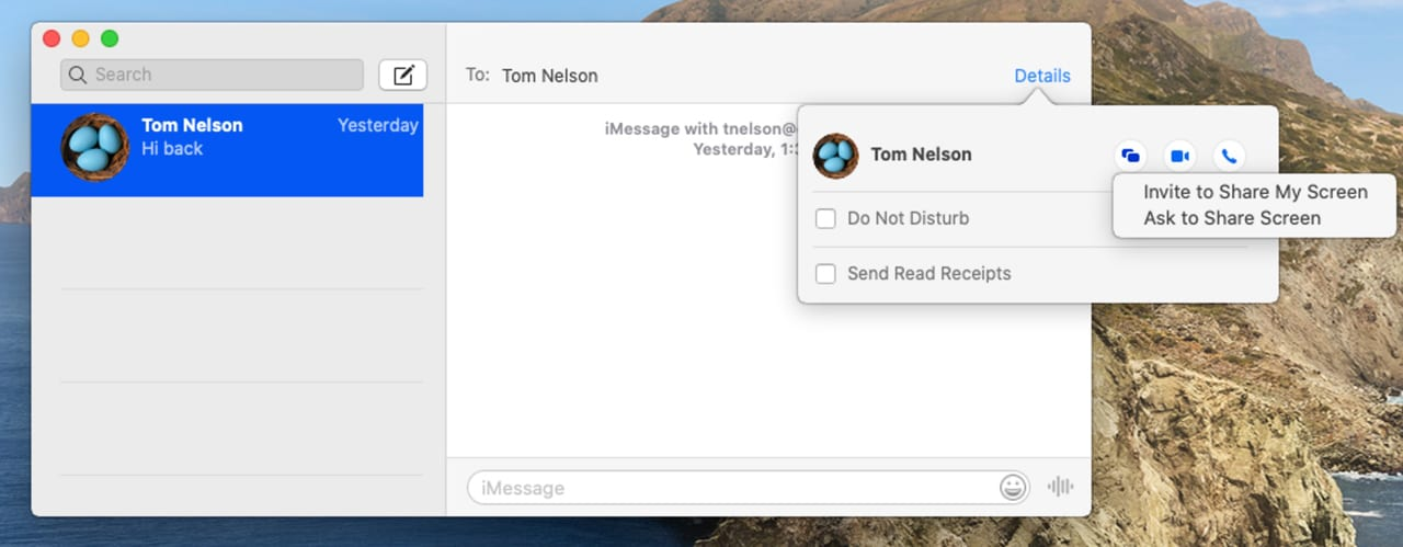Messages app with option to share a Mac's screen shown.