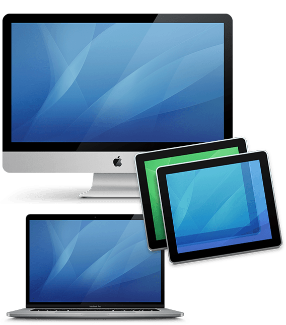 imac icon and macbook pro icon with screen sharing icon