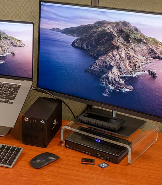 OWC Thunderbolt 3 dock, Thundernay mini, envoy pro ex with 16-inch macbook pro and extension display