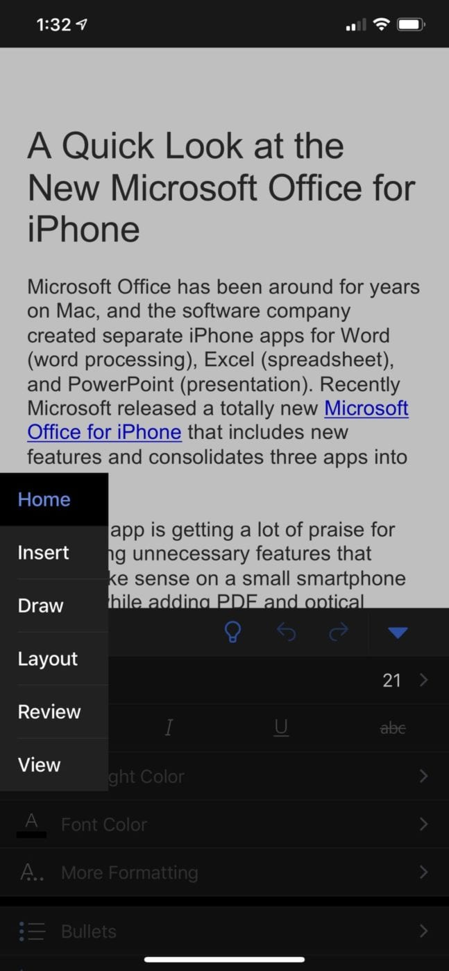 The Word functionality of Microsoft Office for iPhone packs a lot of power into a very well-designed user interface