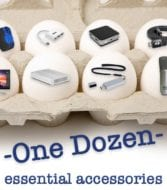 """A carton of eggs showing small images of owc products with text saying """"One dozen essential accessories."""""""