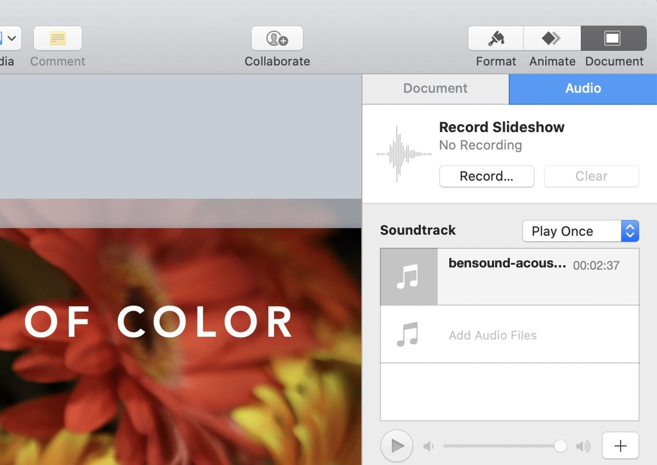 From this dialog, you can add a soundtrack by dropping sound files, and also record a narration for the complete slideshow instead of just one slide.