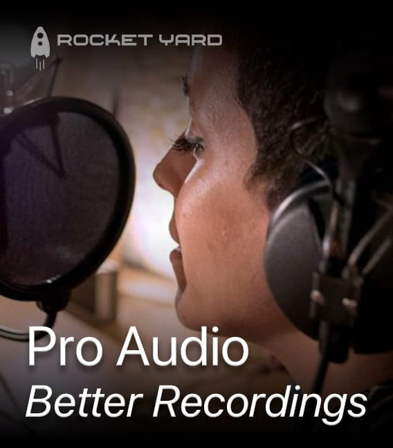 Image of a woman singing on a microphone with text saying Pro Audio - Better Recordings