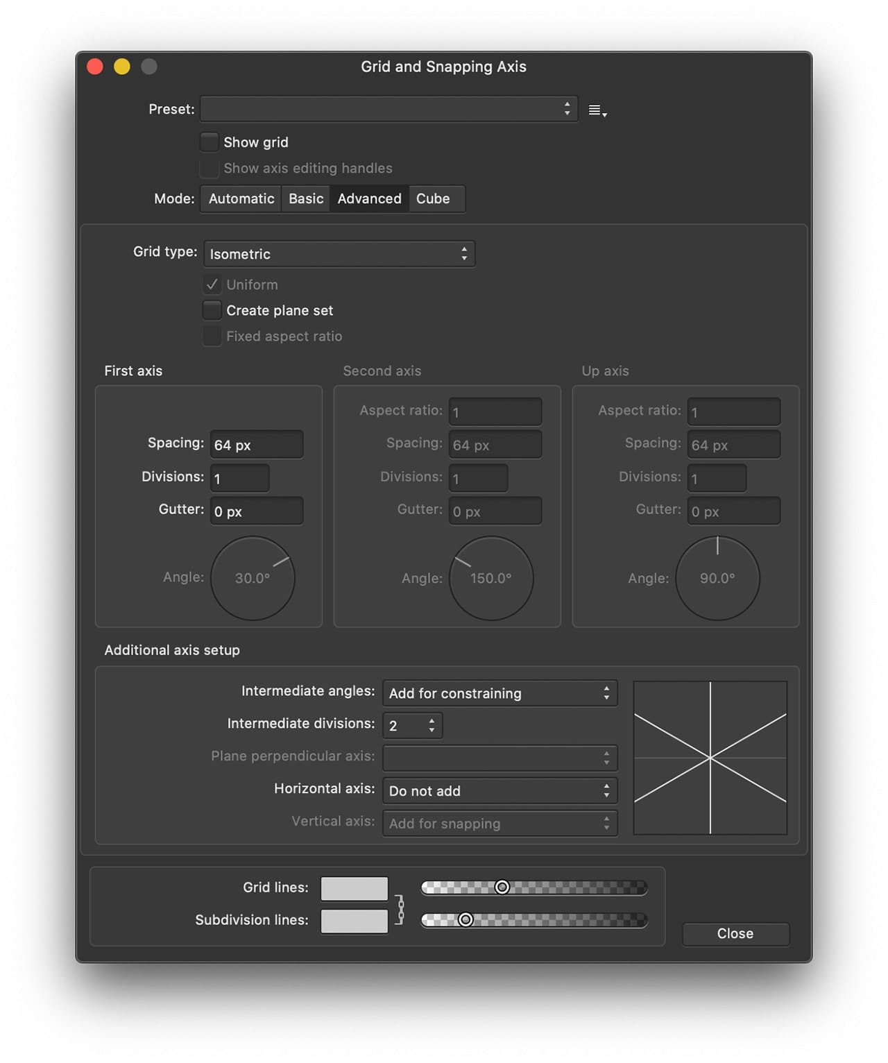 Affinity Designer Grid and Axis Manager