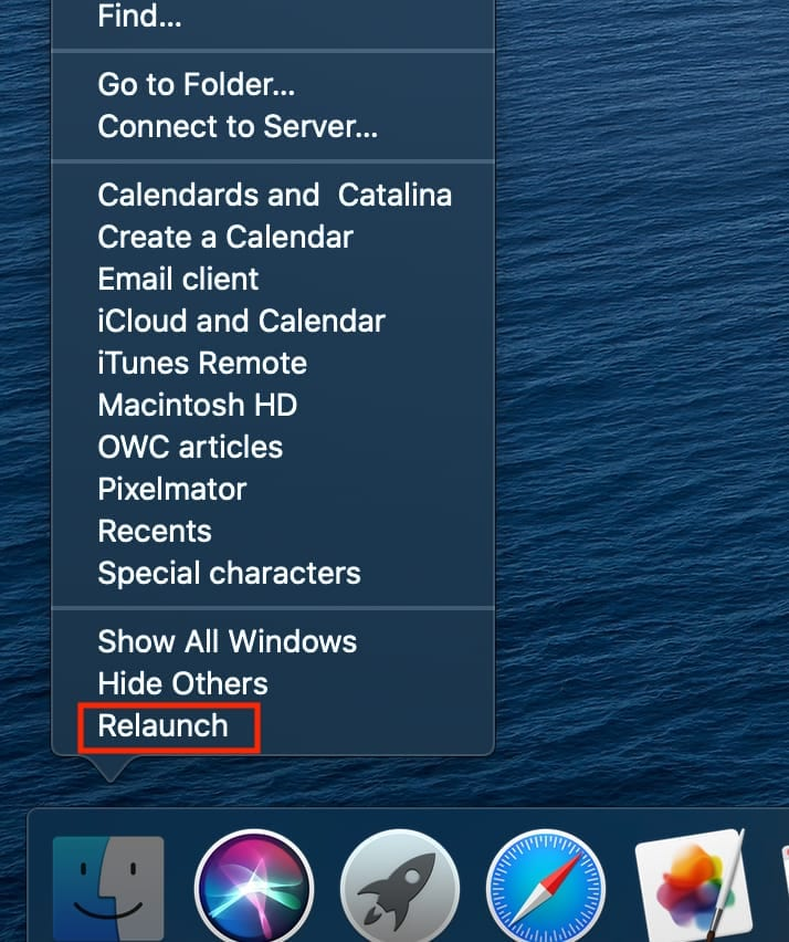 """Screen shot of Finder right-click menu with """"Relaunch"""" outlined with a red box"""
